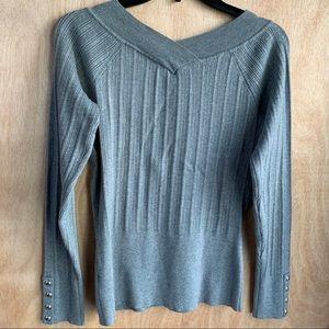 White House Black Market V-neck Ribbed Sweater Top